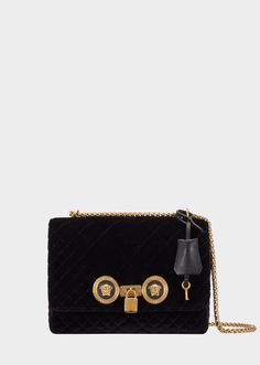 Versace Quilted Velvet Icon Shoulder Bag for Women Versace Bag, Black Shoulder Bag, Shoulder Bags, En Stock, Branded Bags, Leather Interior, Luxury Handbags, Timeless Fashion, Gold Chains