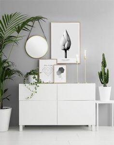 A clear tons entrance welcome you in. #white #whitedecoration #interiors #interiordesign #entrance #decor #Whitedecor #mirror #pictures #frame #plants #plantsdecor #grey #greywall #minimalistic #minimalist #minimalistdecor #scandinavian #scandinaviandecor