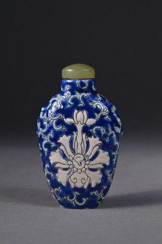 Chinese Blue & White Porcelain Lotus Snuff Bottle