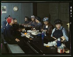 Delano, Jack,, photographer.  Women workers employed as wipers in the roundhouse having lunch in their rest room, C. & N.W. R.R., Clinton, Iowa  1943 April   1 transparency : color.  Notes:  Title from FSA or OWI agency caption. Photograph shows Marcella Hart at left, Mrs. Elibia Siematter at right. Transfer from U.S. Office of War Information, 1944.  Subjects:  Chicago and North Western Railway Company  World War, 1939-1945 Eating & drinking Women--Employment Railroad employees United…