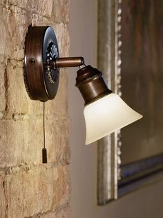 Eglo Lighting / Alamo / Brown Wall Light with Chain Switch / Lackered Glass in Beige Brown Wall Lights, Fan Store, Cloche, Brown Walls, Accent Lighting, Lighting Store, Sconces, Applique, Design