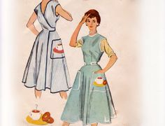Dress Wraps Front With Short Belts That Button At Front Sides Center Waistline Size Med Used Vintage Sewing Pattern 1955 McCalls 1948 Patron Vintage, Vintage Apron, Mccalls Patterns, Apron Patterns, 1940s Dresses, Vintage Dresses, Vintage Dress Patterns, Apron Dress, Vintage Fashion