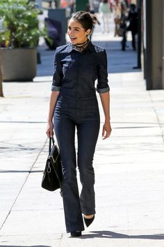 Olivia Culpo wearing Celine Drummed Calfskin Suede Trapeze Black