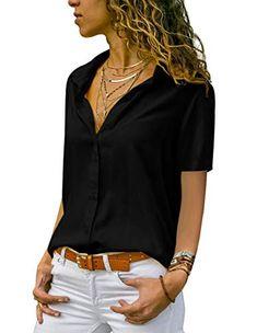 ddd43f40515ba Tunique Femme Grande Taille Chemisier Chic Femme Blouse Fluide Manches  Longues Col Rabattu Tee Shirt Blouses