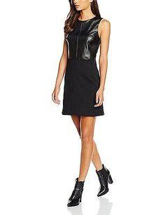 42, Black (BLACK 001), Mia & Mimi Women's PU Panels Dress Molly NEW