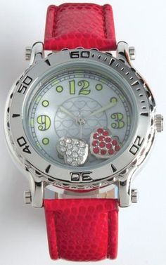 Sanis Red Leather Band Watch With Floating Hearts Cute Watches. $25.99