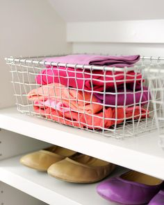 11 Items to Purge from Your Closet (That You Definitely Won't Miss) Wire Basket Shelves, Wire Basket Storage, Wire Storage, Smart Storage, Storage Spaces, Closet Storage, Basket Organization, Closet Organization, Large Woven Basket