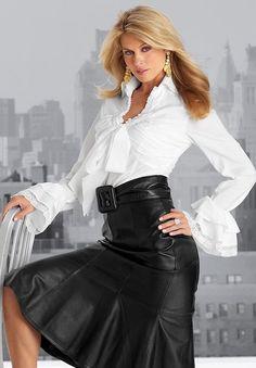 skirt, leather, belt, white bouse, bow