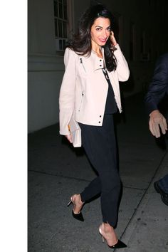 What: J Brand Leather Jacket  When: April 20, 2015 Where: Dinner with her husband and Julia Roberts at Claudette in NYC