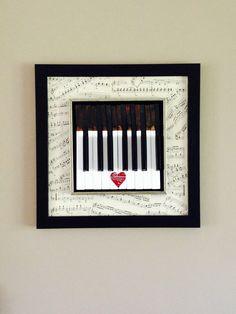 piano keys framed art reusing antique piano keys and vintage sheet music by MusicAsArtBySarah on Etsy Piano Crafts, Music Crafts, Music Decor, Piano Art, Piano Music, Piano Room, Sheet Music Art, Vintage Sheet Music, Key Frame
