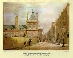 Corner of the Old British Museum, Montagu House, looking E. down Great Russell Street, 1848-1849 by George Scharf I 1788 - 1860.