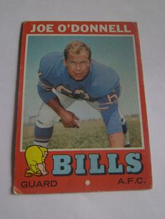 Joe O'Donnell #4 1971 Topps Football Card Buffalo Bils Guard A.F.C.  #Bills