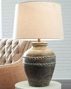 Living Room Ideas Uk, At Home Store, Fabric Shades, Drum Shade, Household Items, Terracotta, Rustic Decor, Lamps, Table Lamp