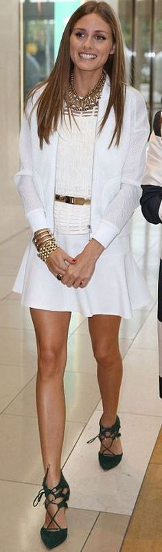 All white with gold accessories (and the shoes!)