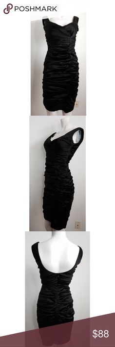 Cache Black Ruched Silk Dress Gorgeous black ruched dress by Cache. Hugs the curves. Zipper on back of dress. Made of silk & spandex. #8101716 Cache Dresses
