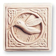 """Celtic Hummingbird Plaque - """"Not a big plaque, but it has a classic feeling to it. When a small friendly accent is needed to transform a dreary area, this is the right choice. The Celtic pattern and hummingbird sculpture work together and become a unique symbol.  Image is Natural, other options are Aged, Green, Terra Cotta and Designer White     Dimensions: 5.00 x 5.00 x 1.00 Composition:"""