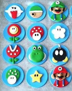 topper I just ordered for birthday    Super Mario Brothers Cupcake Toppers by FancyFondants on Etsy, $24.00