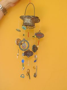 Wind Chime With Metal Basket. Small Recycled Art Hanging Decor. Porch Decoration. Ceiling Decor. Housewarming Gift. Hanging Mobile. by CarolineArtzi on Etsy
