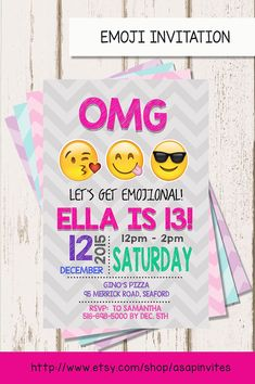 EMOJI BIRTHDAY INVITATION Emojis Emoji Invite by Asapinvites