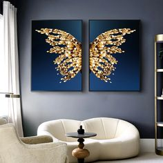 Nordic Golden Butterfly and Wings Canvas Painting Abstract Posters and Prints Wall Pictures for Living Room Cuadros Home Decor Living Room Pictures, Wall Art Pictures, Abstract Pictures, Painting Pictures, Pictures For Home, Abstract Wall Art, Abstract Posters, Painting Abstract, Wall Painting Design
