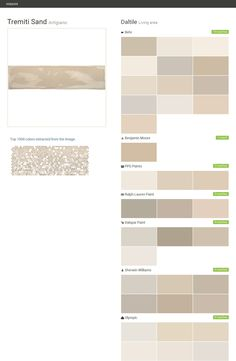 Tremiti Sand. Artigiano. Living area. Daltile. Behr. Benjamin Moore. PPG Paints. Ralph Lauren Paint. Valspar Paint. Sherwin Williams. Olympic.  Click the gray Visit button to see the matching paint names.