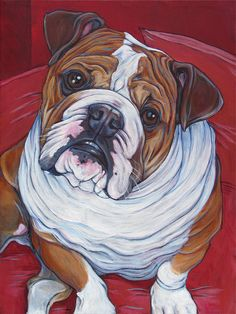 Rupert the English Bulldog Dog Custom Pet Portrait Painting in Acrylic Paint on…