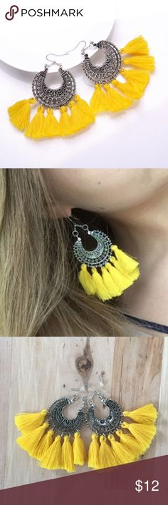 Yellow Bohemian Trendy Long Tassel Earrings Bohemian Retro Long Tassel Drop Earrings Antique Silver Color  Available in : - White - Yellow  - Black See Closet for more colors! golden threads Jewelry Earrings