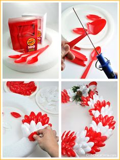 How to make an easy holiday wreath with colorful plastic spoons #makeitfuncrafts