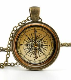 Vintage Compass Pendant Necklace - Old Fashioned Antique Style Picture Jewelry #NecklacePendant
