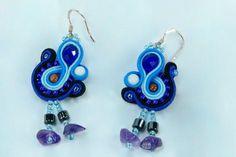 Dangle soutache earrings, soutache jewelry, gift for her, gi Soutache Earrings, Blue Earrings, Dangle Earrings, Boho Jewelry, Jewelry Gifts, Unique Jewelry, Gifts For Girls, Gifts For Mom, Lany
