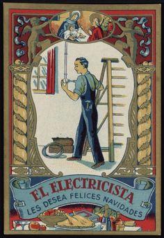 El Electricista les desea Felices Navidades. Segle XX. Fons Palau Antiguitats. #Nadal #Christmas #greeting #card