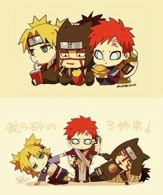 Gaara, Temari, Kankuro, Sand Siblings, cute, chibi, text, funny, eating, food, soda, drink, fries, burger; Naruto