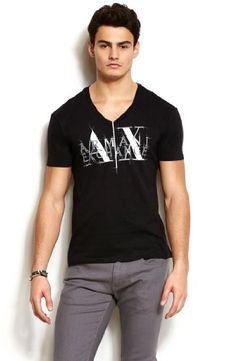 Armani Exchange Mens Double Logo Tee $28 #T-Shirts  #Apparel  #A|XArmaniExchange