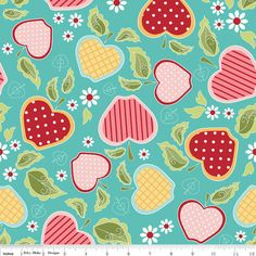 Fun Fabric for a tablecloth or maybe tea towels or something.  The Quilted Fish for Riley Blake Apple of My Eye Collection One Yard of Basket in Blue. $10.50, via Etsy.