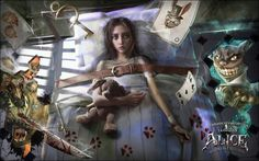 I dreamed to do a picture for my lovely game and story - American McGee`s Alice: Madness returns So i drew it during a 30 hours, and finally it`s done. Now it's time to put your blade to work Alice Liddell, Dark Alice In Wonderland, Adventures In Wonderland, Alice Madness Returns, Chesire Cat, A Silent Voice, Were All Mad Here, Arte Horror, Through The Looking Glass