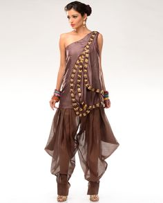 d149ebaea5a Smokey Lilac and Mahogany Red Tops with Harem Pants by Samant Chauhan  Steampunk Skirt
