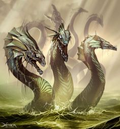Hydra, multi headed snake like creature that when head is cut off grows 2 more to replace its lost one. (Grimlock, E)