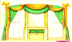 Green and Gold Drapery. From: 1793  Cabinet Maker's and Upholsterer's Drawing Book By Thomas Sheraton. via google Books (PD-200)   suzilove.com