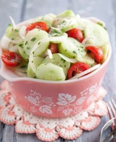 Paula Deen ~ Aunt Peggy's Cucumber, Tomato, Onion Salad