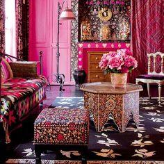 Paris apartment in Bollywood pink ~ via marieclairemaison.com