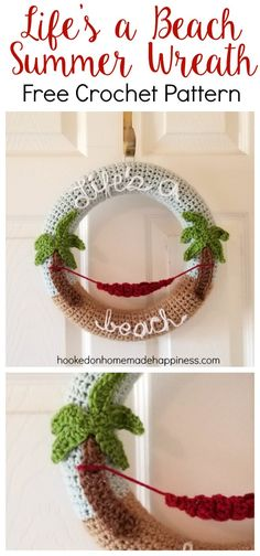 """Life's a Beach"" Summer Crochet Wreath - Hooked on Homemade Happiness"