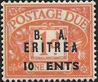 """Eritrea (British Administration) """"10 CENTS"""" on 1d red variant """"C"""" omitted (row 7/17)"""