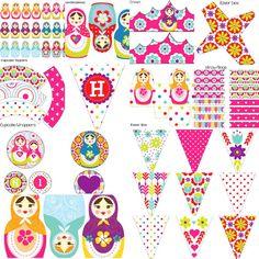 Girls Matrioshka Matryoshka Russian Stacking Dolls Birthday Party Decorations Digital Printables Package