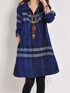 Ericdresss Plaid Lapel A-Line Casual Dress Casual Dresses