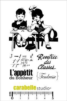 Tampon vintage scrapbooking A7 - Ecole - Art Stamp - Carabelle Studio