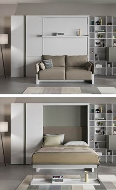Transform your small space with our Nuovoliola a queen-sized wall bed that converts into a sofa. Sofa Seats, Sofa Bed, Modular Cabinets, Resource Furniture, Transforming Furniture, Hidden Bed, Wall Beds, Bed Base, Extruded Aluminum