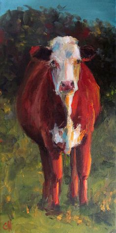 Cow Painting Patience 8x16 Original Painting by CariHumphryArt