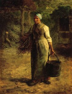 Jean-Francois Millet - Woman Carrying Firewood and a Pail (1858-1860)