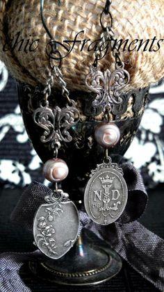Grace' Renaissance Earrings ~ Antique French Lourdes Sterling Silver Medals ~ Long Pearl Dangles (539×960)