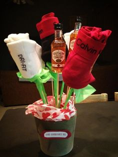 "DIY Valentines Day gift for him, ""you comfort me"" masculine bouquet: rose boxers, mini Soco bottles. DIY Valentines Day gift for him, you comfort me masculine bouquet: rose boxers, mini Soco bottles. Cadeau St Valentin, Saint Valentin Diy, Diy Valentines Day Gifts For Him, Funny Valentine, Homemade Valentines, Inexpensive Valentines Day Ideas, Valentines Day Husband, Valentines Day Gifts For Him Boyfriends, Husband Birthday"